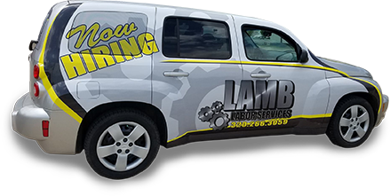 Isolated image of LAMB Labor Services PT Cruiser vehicle featuring a LAMB vehicle wrap